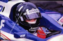 Damon Hill. Williams-Renault FW17 Silverstone Pits 1996